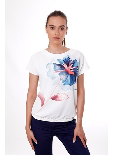 Clıche Cliche , Mint Çiçek Desenli Lastikli Kısa Kollu Bluz İndigo